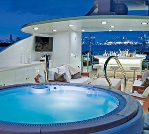 Sun Deck Jacuzzi Pool On Board Yacht COCKTAILS