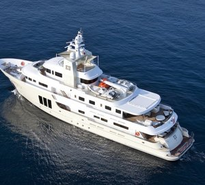Birds view of the E&E expedition yacht by Cizgi Yachts designed by Vripack