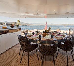 Luxury Charter Yacht MANIFIQ Upper aft deck dining