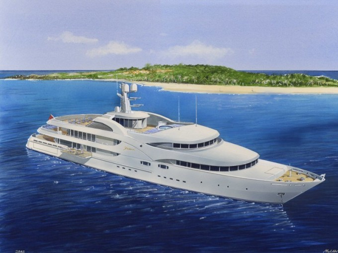 Yacht Nourah of Riyad - Rendering Design by Donald Starkey