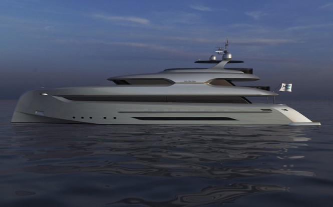 Rendering of the Bilgin 147 super yacht Elada designed by H2 Yacht Design