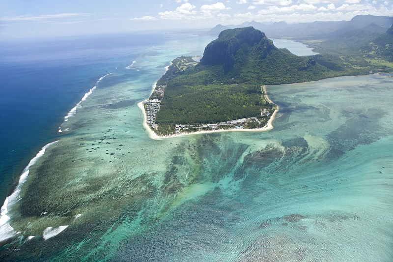 Aerial view of the beautiful Mauritius