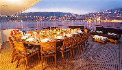Dining in The Mediterranean Yachts Aft Deck