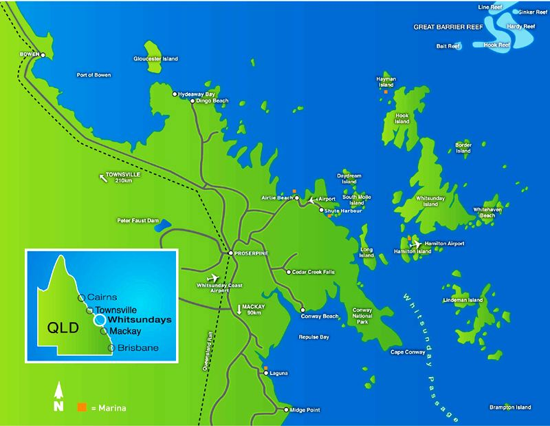 Whitsundays Map