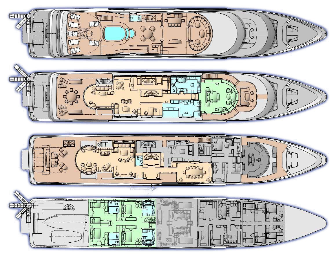 Deck image gallery luxury yacht browser by for The world deck plans