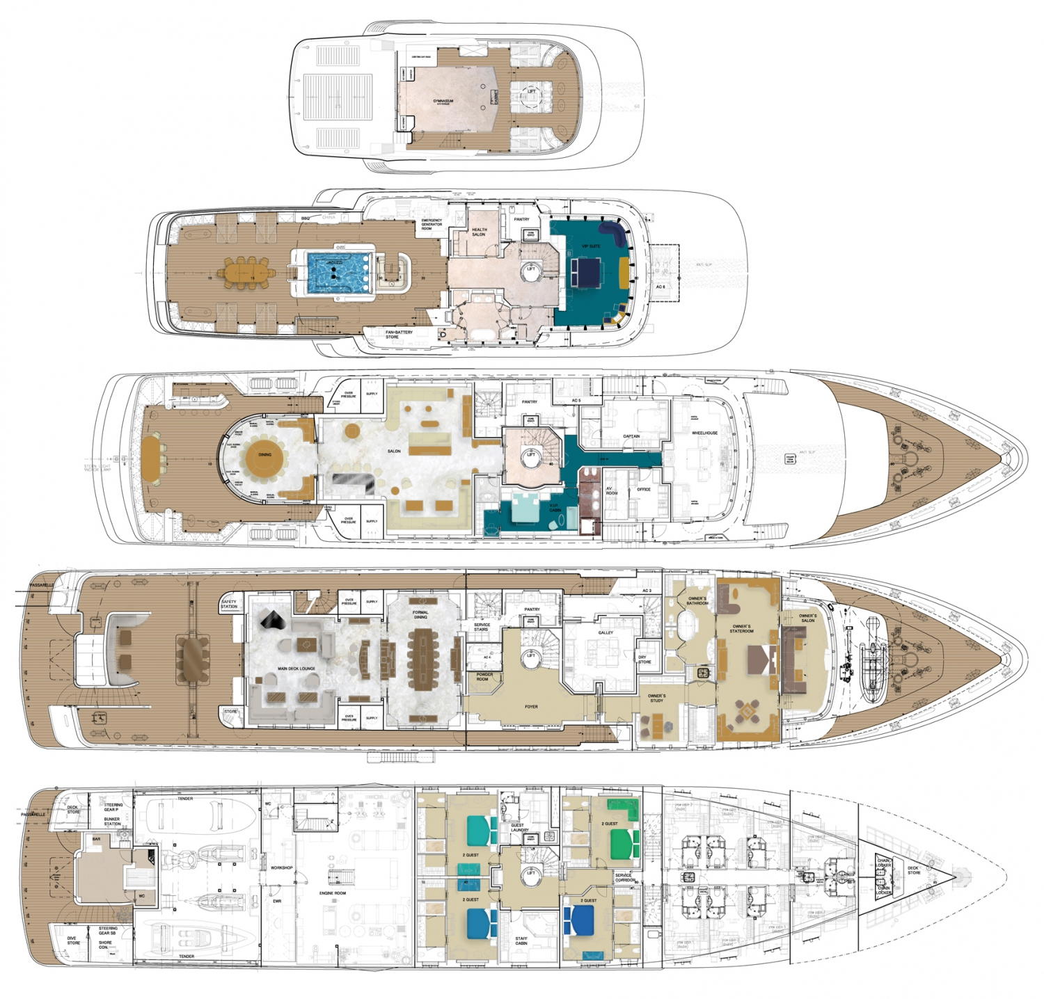 Mega yacht floor plans flooring ideas and inspiration for The world deck plans