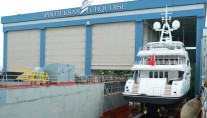 1-NB56 superyacht Ileria leaving her shed at Proteksan Turquoise