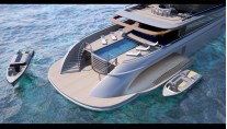 100m luxury yacht BLADE concept - aft view