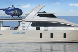 24m Jutson Exploration HeliCat superyacht - side view