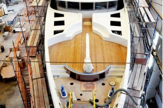 47m motor yacht BEBE in build - Image credit to Vosmarine