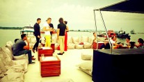 A party on board superyacht Dragoon 130