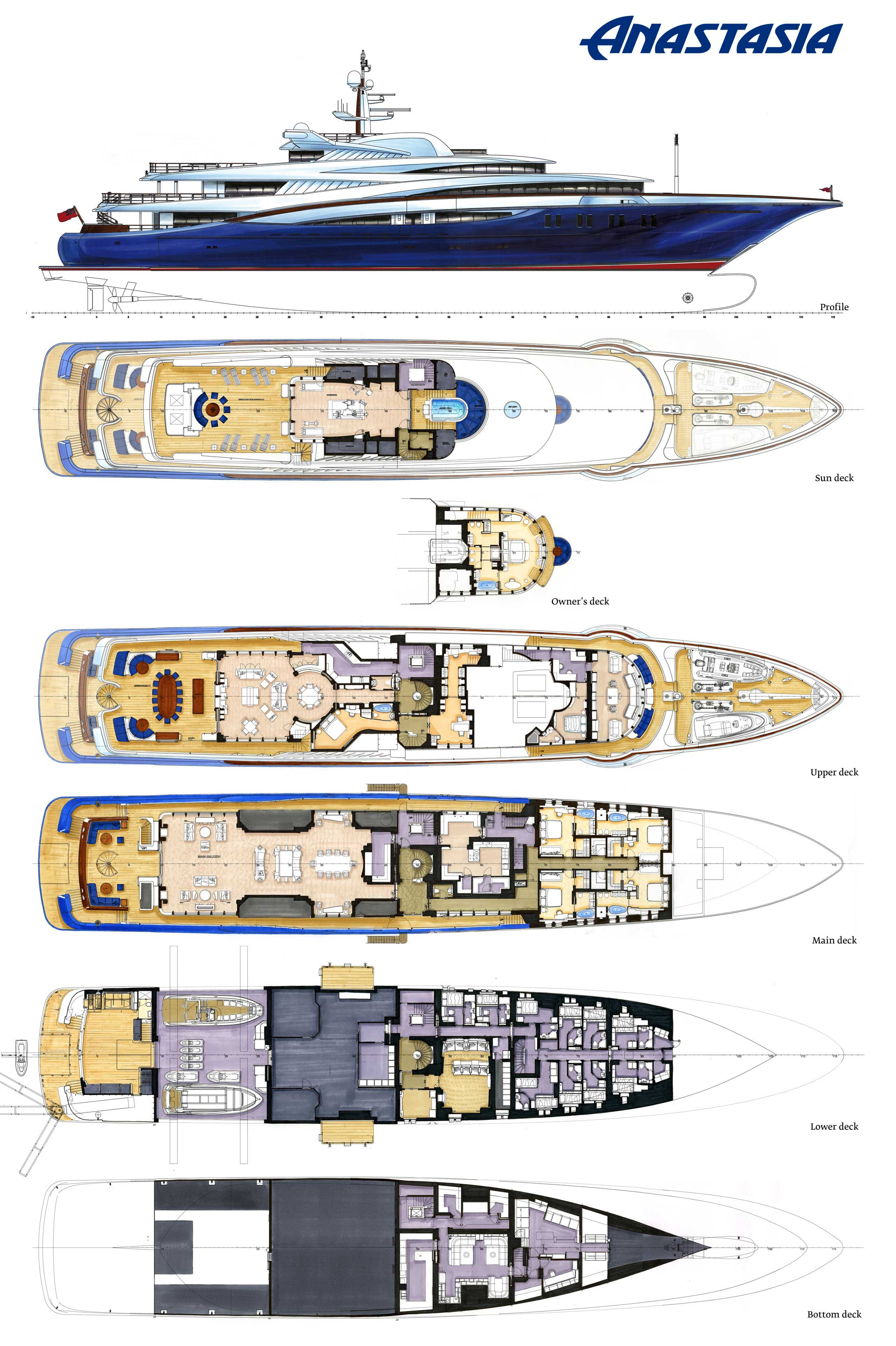 Layout Plans Image Gallery – Luxury Yacht Browser | by CHARTERWORLD Superyacht Charter