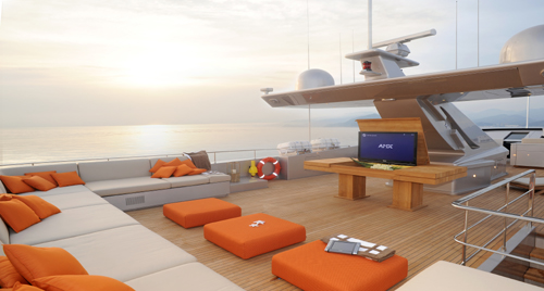 Admiral motor yacht AQUA -  Top Deck Sunpads and TV