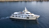 Aerial shot of the charter yacht E&E (ex Jasmin II) available for luxury yacht charters