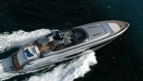 Aerial view of superyacht Riva 88 Miami at full speed-001