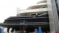Aft detail of the 70 metre motor yacht NUMPTIA by Rossi Navi at her launch