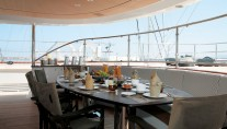 Al fresco dining - 56m charter yacht Rosehearty