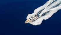 Amer 100 Yacht from above at full speed