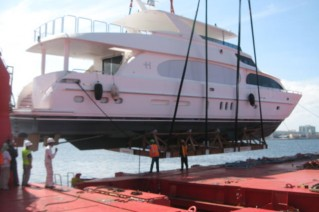 Arrival of Second Love yacht after one months voyage from shipyard in Taiwan.JPG
