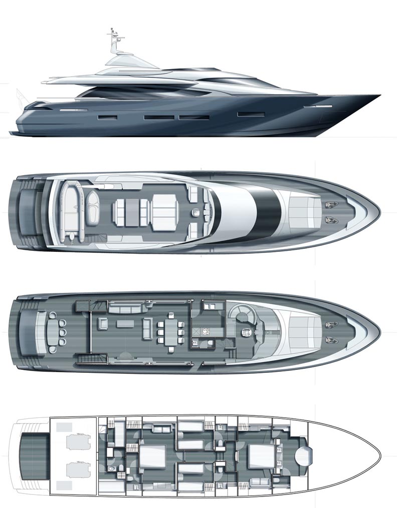 Luxury Yacht Charter BIBICH Layout Plans