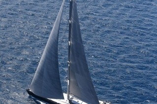 Blue Papillon Yacht from above - Photo by Flypictures