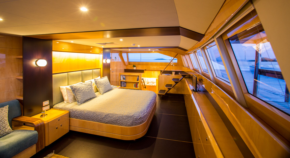 Catamaran windquest master cabin luxury yacht browser for By the cabin catamaran charters