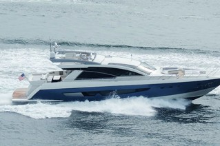 Cheoy Lee Alpha 87 Express Sportbrige superyacht at full speed