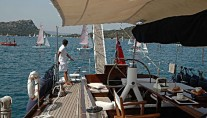 Classic Yacht Lady Sail -  On Deck looking Aft