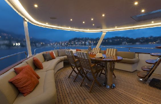 Classic Yacht SULTANA -  Aft Deck At Night
