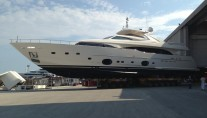 Custom Line 112 NEXT Yacht Happy Days leaving her shed