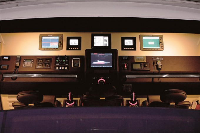 DUKE Sistership Azimut 103 S Internal Wheelhouse by Night