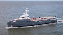 Damen SEA AXE 6711 Fast Yacht Support vessel under sea trials