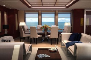 Dining area of F45 Vantage Feadship Motor Yacht Helix