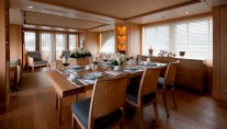 Dining area of the motor yacht Belle Isle by Kingship - Columbus 90