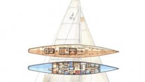 Drawing of the J-class yacht Lionheart