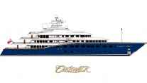 Drawing of the Superyacht Cakewalk