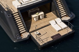 Expansive beach club aboard ICON superyacht