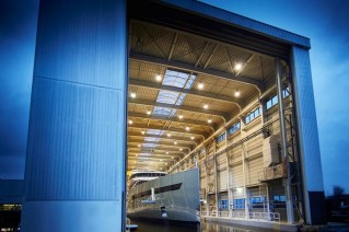 Feadship mega yacht Savannah (hull 686) ready to leave her shed
