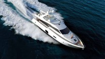 Ferretti 720 super yacht from above