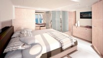 Ferretti 720 super yacht owner suite