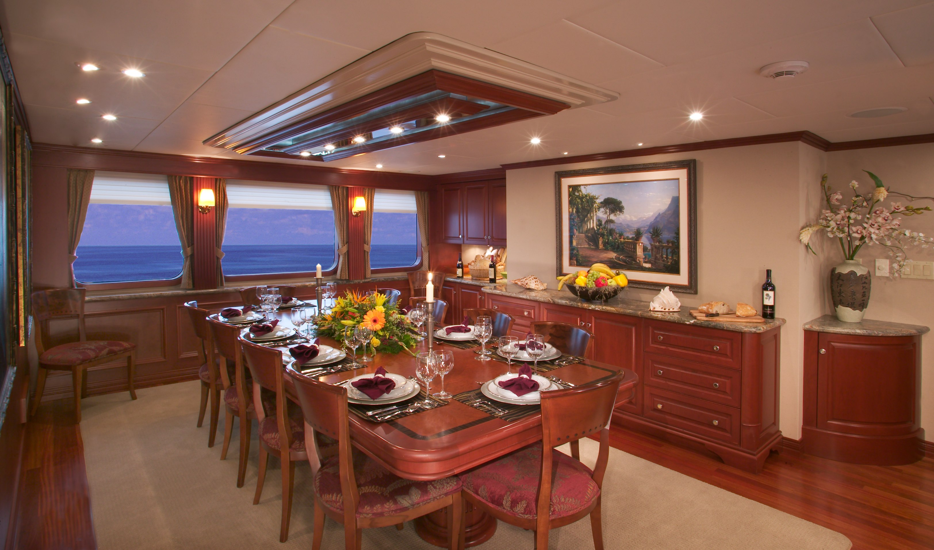 Luxury Yacht Charter Golf Charter Yacht Stargazer - Formal Dining Room