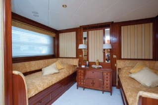 Guest cabin aboard Be Mine superyacht with new, enlarged porthole