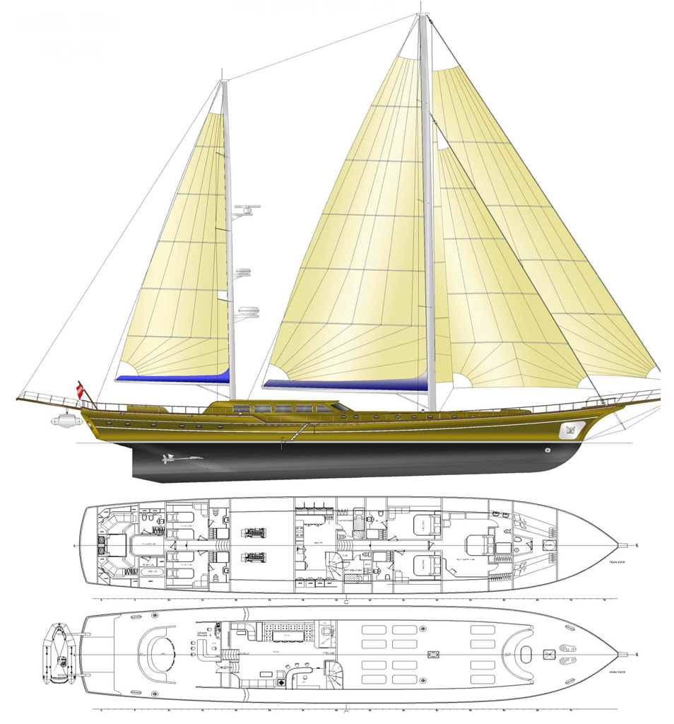 Gulet carpe diem v deck plan and layout luxury yacht for The world deck plans