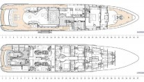 Heesen yacht G3 - Layout main and lower deck