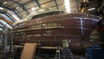 Hull and superstructure of superyacht DEY 24 joined together