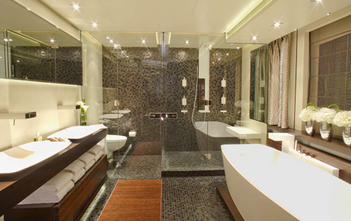 Luxury Yacht Charter INCEPTION - Master Bathroom - Mark Wallace ...