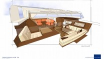 Interior of Bougainville yacht designed by Rhoades Young - Saloon View Forward-001