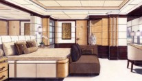 Interior of motor yacht Lyana designed by Francois Zuretti