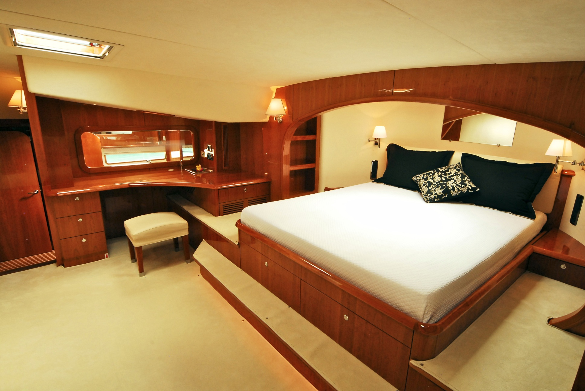 Interior Master Bed lady alliaura yacht charter details privilege 745 sailing master bed