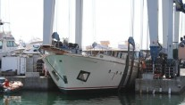 Launch of classic yacht Andromeda at Castagnola shipyard